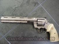 "Colt Python Target-Rare 8"",38spl,nickel,100%master engraved by Denice Therion,faux ivory grips,one of a kind masterpiece-"