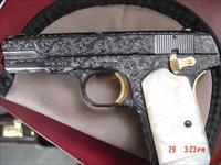 Colt 1903 32 cal, 1918, hammerless, fully engraved by Flannery Engraving,high gloss blue with 24K accents,certificate,awesome work of art !!