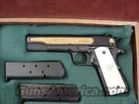 Colt 1911 Government 45acp,Baltimore Maryland 250th Anniversary commemorative,gold engraved with ships,etc,faux ivory grips &  beautiful fitted pres case,that is in the shape of an antique book !! made in 1982