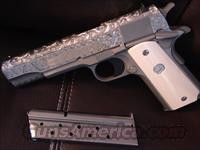 Colt 1911,Series 80, Government,38 Super, brushed stainless,hand master engraved slide,real Ivory,new in box,with papers,2 mags,