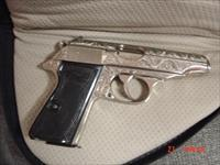 Walther PP 380 auto,nickel,fully deep scroll engraved,looks like new,black grips,soft zippered case,double action,circa 1960's
