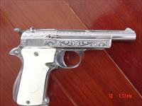 "Star Model F,22 long rifle,factory deep engraved,nickel or chrome,2 mags,new Faux ivory grips,4 1/4""barrel nice !!"