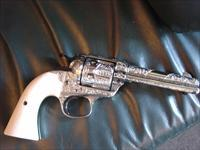 "Colt Bisley 1st Generation,1913,nickel,blued accents,master deep scroll engraved,32WCF,4 3/4"",real ivory grips,& a total work of art,102 years old !!!"