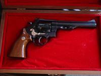 "High Standard Crusader 50th Anniversary revolver,44 magnum 6 1/2"", polished blued with gold Crusader,in fitted wood Presentation case-lightly used !!"