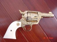 Colt Sheriffs SAA fully engraved by the late Weldon Bledsoe,24K plated,real ivory grips,custom fitted pres.case,around 1979 . a work of art,& very rare !!