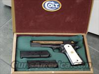Colt 1911 Government styled 45acp,Baltimore Maryland 250th Anniversary commemorative,gold engraved with ships,etc,faux ivory grips &  beautiful fitted pres case,that is in the shape of an antique book !! made in 1982