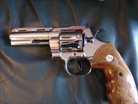 "Colt Python 4"" Nickel,fully refinished in Feb 2015,357 Mag,high gloss blued accents,custom  wood fingergroove grips-nicer than new,1971"