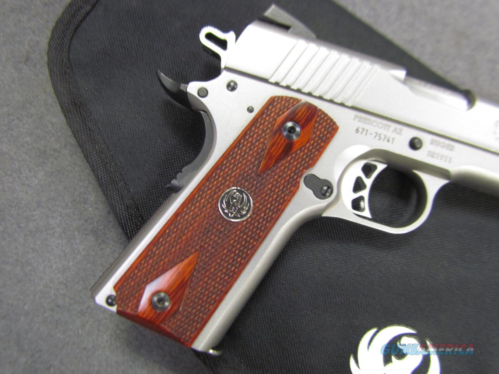~!^ BEAUTIFUL ^!~ RUGER SR 1911 COMMANDER! ROSEWOOD Grips! STAINLESS LIKE  NEW! REDUCED! Exc & O B O !