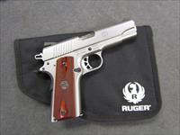 ~!^ BEAUTIFUL ^!~ RUGER SR 1911 COMMANDER! ROSEWOOD Grips! STAINLESS LIKE NEW! REDUCED! Exc & O.B.O.!