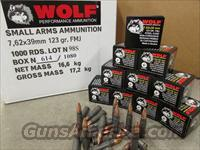 1000 ROUNDS WOLF 7.62X39 7.62X39MM 123 GR FMJ AMMO