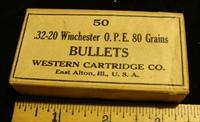 32-20 Bullets 80 Grain Jacketed Hollow Points Winchester Western