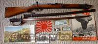 Japanese Type 44 Carbine WWII w/Cavalry Sword, Flag, Photos & more