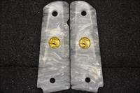 1911 Colt grips 12 Faux White Pearl with Gold medallions