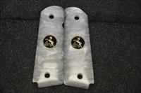 1911 Colt grips 02 Faux White Pearl with Black and Gold coin medallions
