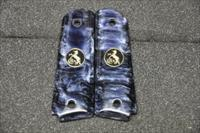 1911 Colt grips 03 Faux Black Pearl with Black and Gold  coin medallions