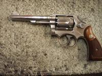 "SMITH & WESSON MODEL 10-5 5"" NICKLE 38 SPL."