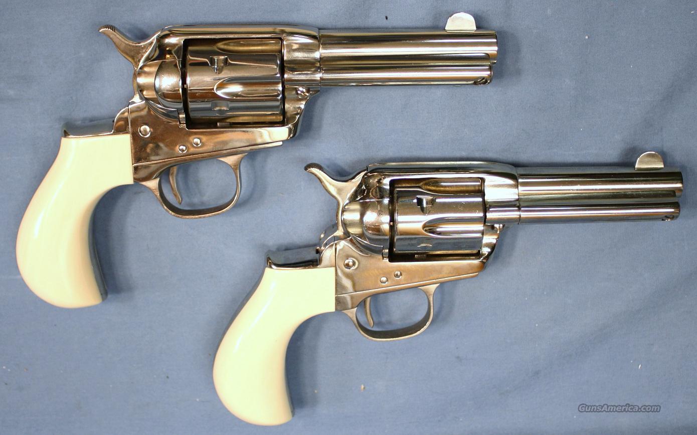 Cimarron Lightning Pair Nickel Finish Single Action Revolvers  38 Special  (Non-Consecutive Pair)