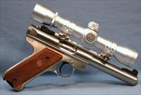 Ruger MK III Stainless Steel Scoped Semi-Automatic Pistol .22 Long Rifle