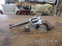 RUGER NEW MODEL STAINLESS SINGLE SIX CONVERTIBLE 22 L.R. & 22 MAGNUM ALL 99% NO BOX.