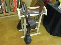 6902 McClellan Calvary Saddle WORLD WAR I,excellent condition, 12 inch model,leather top and under side in excellent condition, so are the stirrups and ties.saddle stand is extra and bulky to ship.