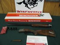 6938 Winchester 101 Lightweight 20 gauge 27 inch barrels 6 winchokes, 2sk, ic,mod,f,xf,wrench,pouch,Winchester Pamplet,correct Winchester box serialized to gun,all original,PHEASANTS/QUAIL COIN SILVER ENGRAVED RECEIVER, Winchester butt pad.