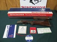 6252 Winchester 101 Pigeon 20 gauge 28 inch barrels 2 3/4 & 3 inch chambers,rose and scroll coin silver engraved receiver round knob ejectors, vent rib,Pachmayr pad lop 15, correct Winchester box,hang tag and all papers, time capsule surviv