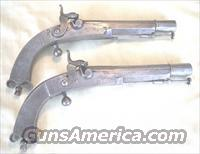 BEAUTIFUL PAIR OF ALL METAL PERCUSSION PISTOLS BY J. CLARKE