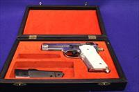 Cased Nickel Smith & Wesson 59 with hand carved Ivories