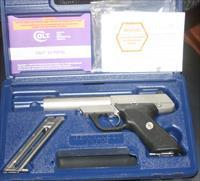 COLT 22 STAINLESS STEEL 22 LR PISTOL IN BOX WITH OWNERS MANUAL