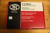 FNH 5.7x28mm  SS198LF case of 500 rds. Green Tip Hollow Point