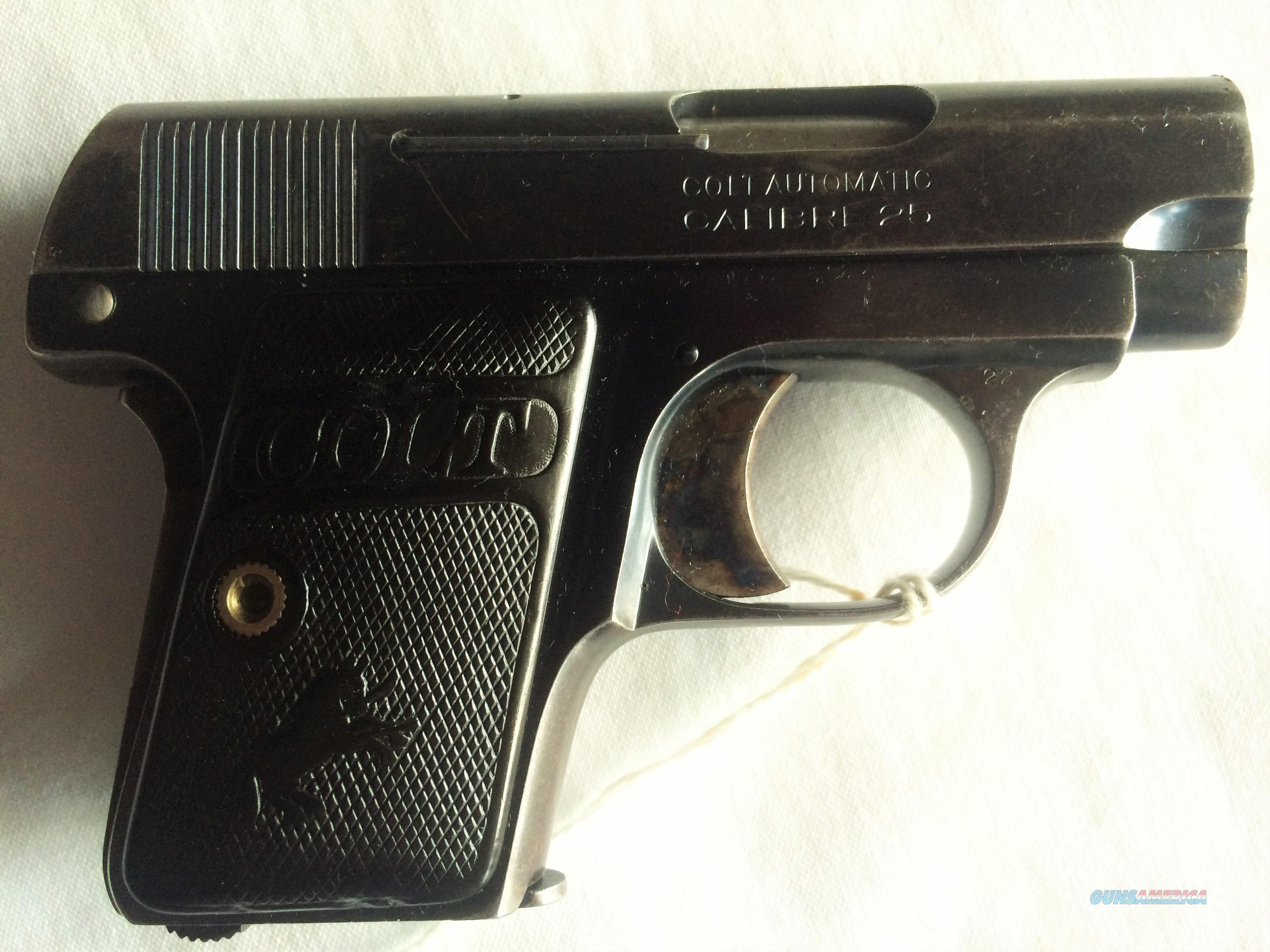 colt vest pocket 25 caliber semi auto pistol for sale