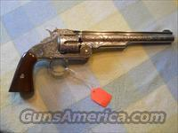 1869 SMITH & WESSON .45 SCHOFIELD ENGRAVED NICKEL REVOLVER  (NON FIRING REPLICA)