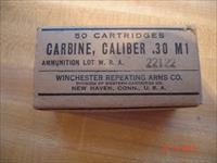 Vintage.30 cal. carbine M1 Winchester MFG for the Military Full Box Dated 1944