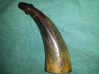 OLD ENGRAVED CAP'T LEMUEL HATCH POWDER HORN
