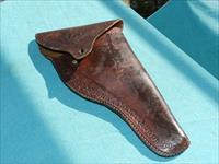 EARLY TOOLED BROWN FLAP LEATHER HOLSTER