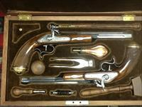 UNFIRED engraved set of dueling pistols  in French fitted case with all  Accs. 44cal