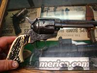 FACTORY ENGRAVED US patent  FIREARMS CO  BETTER MADE THAN  COLT 1873 SAA 44 SPECL CAL WITH REAL STAG GRIPS 5 1/2  IN BRL