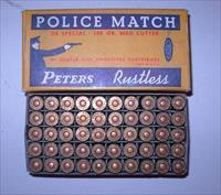 VINTAGE PETERS POLICE MATCH .38 SPECIAL WAD CUTTER AMMUNITION **** ORIGIAL FULL BOX **** $59.00 WITH FREE SHIPPING!!!! CREDIT CARD SAME AS CASH!!!!