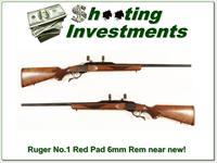 Ruger No. 1 Red Pad 6mm Remington as new!