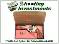Colt Python 4in Polished Nickle 1976 in box!
