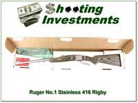 Ruger No.1 Stainless Laminated 416 Rigby with box!