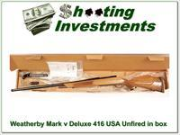 Weatherby Mark V Deluxe 416 Weatherby magnum unfired in box!