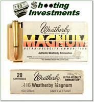Weatherby 416 Wthy Magnum factory ammo 400 Grain Swift A-Frame