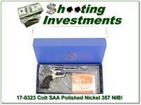 Colt SAA Model P 357 Polished Nickel unfired in box!