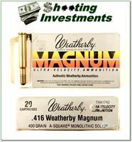Weatherby 416 Wthy Magnum factory ammo 400 Grain A-Square Monolithic