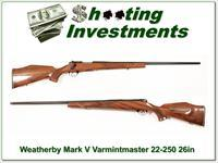 Weatherby Mark V Varmintmaster 22-250 26in as new!