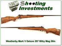 Weatherby Mark V Deluxe 257 Wthy mag 26in as new!