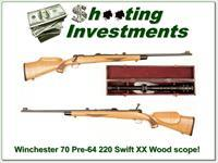 Winchester Model 70 Pre-64 220 Swift with custom stock and period scope!