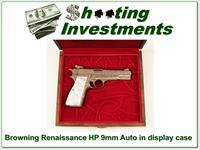 Browning HP 9mm Renaissance hand engraved Belgium made in case!