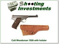 Colt Woodsman 4 ½ in made in 1926 with holster